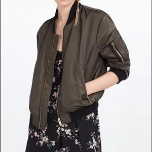 Zara Bomber Zip Pockets Green Bomber Jacket